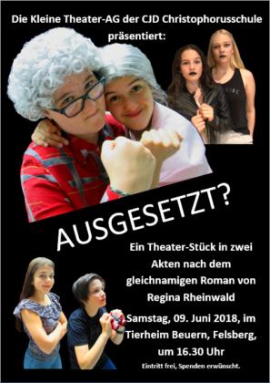 """""""Ausgesetzt?""""- Theaterstück der Kleinen Theater-AG der CJD Oberurff am 9. Juni 2018 im Tierheim Beuern. Foto: nh"""