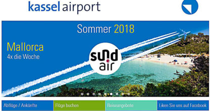 Screenshot der Homepage des Kassel Airport.