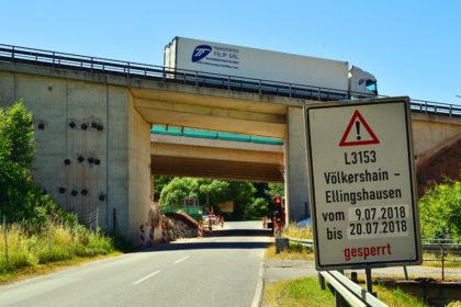 A7-Brückenbau über die L3153 zwischen Völkershain und Ellingshausen. Foto: Schmidtkunz