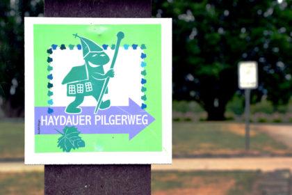 Haydauer Pilgerweg: Die Klosterkirche zeigt, wo's langgeht. Foto: Schmidtkunz