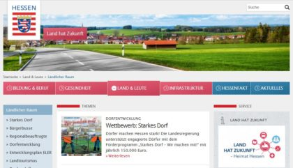 Land hat Zukunft – Heimat Hessen. Die Region hat viele starke Dörfer zu bieten. Infos gibt es auf dieser Homepage. Screenshot: nh