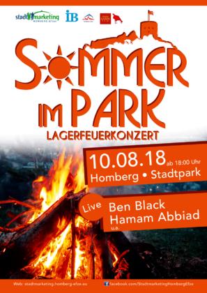 Sommer im Park mit Lagerfeuerkonzert. Grafik: nh