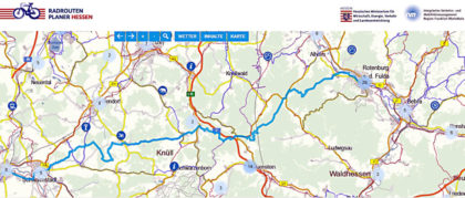 Übersichtskarte zur ADFC-Tour über den Knüll. Grafik: nh