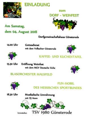 Einladungsflyer zum Weinfest Günsterode. Grafik: nh