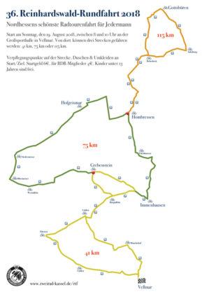 Drei Strecken bietet die 36. Reinhardswaldrundfahrt. Grafik: nh
