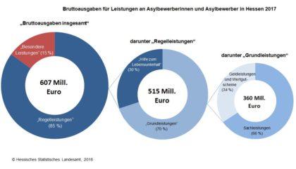 Diagramme zu den Ausgabren 2017 für Asylbewerber*innen. Grafik: Statistik Hessen