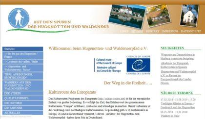 Webseite Hugenotten- und Waldenserpfad. Screenshot: nh