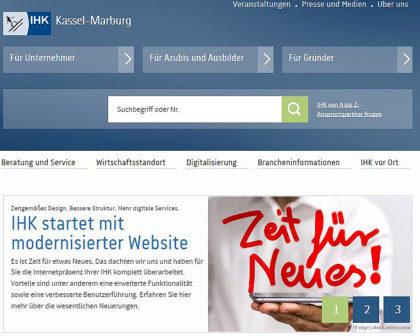So sieht die neue Homepage der IHK aus. Screenshot: nh