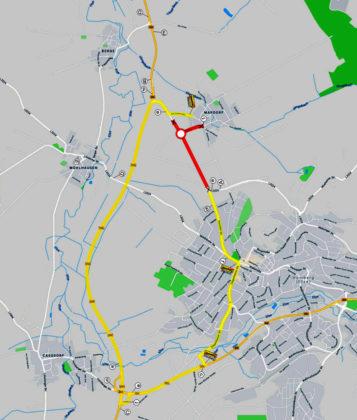 Die neue Streckenführung im Bild: Rot = gesperrter Bereich der K26 und der Ortszufahrt nach Mardorf; Gelb = neu eingerichtete Umleitung über die B 254 und B 323. Grafik: nh