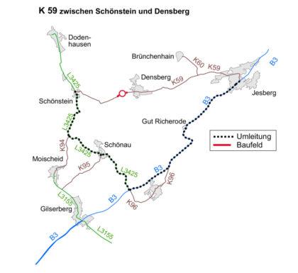 Vollsperrung der K59 und Umleitungsempfehlung.