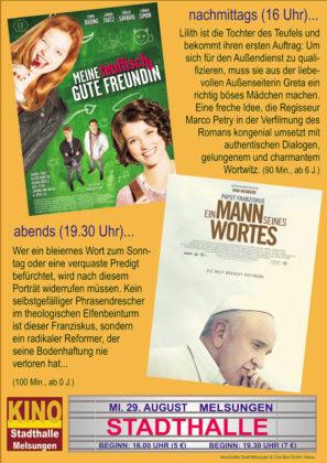 Kombi-Plakat zum Auftakt: Kino in der Stadthalle. Repro: nh