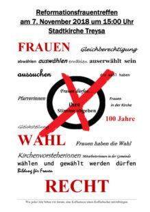 """Einladung zum Reformationsfrauentreffen """"100 Jahre Frauenwahlrecht"""". Repro: nh"""