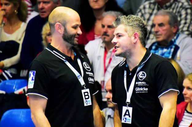MT-Trainer Heiko Grimm und Co-Trainer Arjan Haenen. Foto: Hartung
