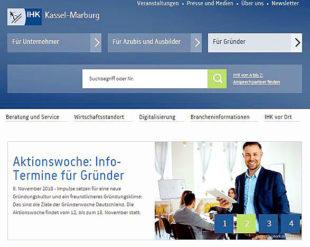 Homepage der ihk Kassel-Marburg mit Hinweis auf die Aktionswoche vom 12. bis 18. November. Screenshot: nh