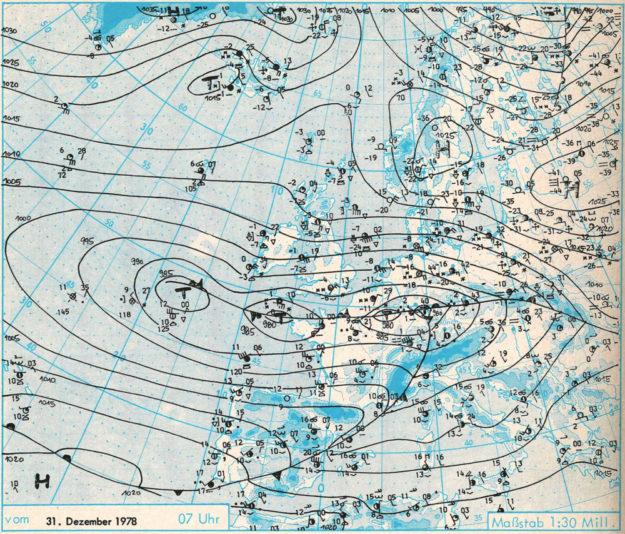Die original Wetterkarte zeigt den Auftakt zum Katastrophenwinter vor 40 Jahren. Bild: Deutscher Wetterdienst (DWD).
