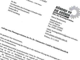Anfrage der Bündnisgrünen zum Erweiterungsvorhaben der Dr. Schuhmacher GmbH. Foto: nh