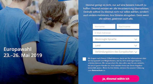 Die Startseite der Kampagne lädt zu aktiver Teilnahme an der kommenden Europawahl ein. Screenshot: nh