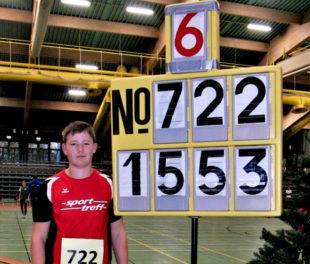 Luis Andre egalisierte mit 15,53 m seinen Kugelstoßkreisrekord in der U14