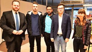 Landesvorsitzender Engin Eroglu, Tim Wasserberg (Schatzmeister), Mubarik Sabir (Ortsvorsitzender), Can Unal (Stv. Vorsitzender), Alina Alina Morneweg (Mitglied). Foto: nh