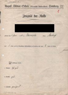 Eines der ersten Abiturzeugnisse der AVS aus dem Jahr 1929, Seite eins von vier. Quelle: BTHS-Schulmuseum