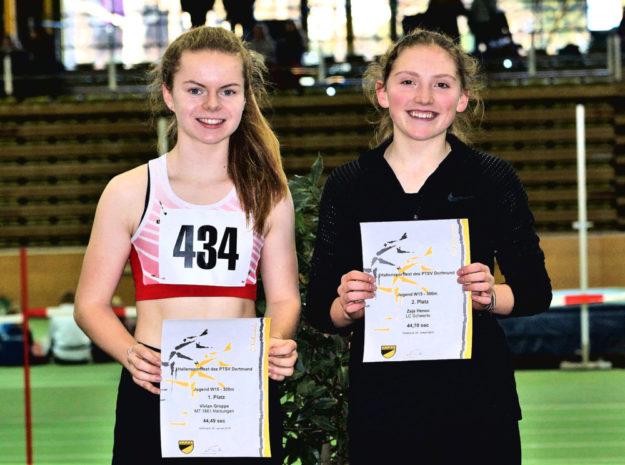 Vivian Groppe siegte vor Anna Hense (Schwete), Deutschlands schnellster 300m-Läuferin vom Jahrgang 2004. Foto: nh