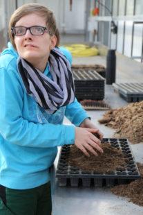 Zierpflanzen sind ihr Metier: Mareike Mergard absolvierte den Berufsbildungsbereich in der Hephata-Gärtnerei in Schwalmstadt-Treysa. Foto: Hephata