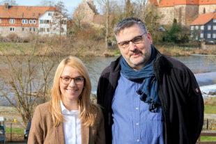 Wiebke Knell und Jürgen Werner trafen sich zum Gespräch über Digitalisierung an den Schulen im Schwalm-Eder-Kreis. Foto: nh