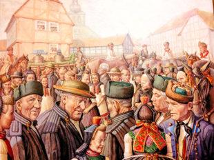 Im Bilderschwatz »Die Glockenübergabe« von dem Maler Webergaul. Repro: nh