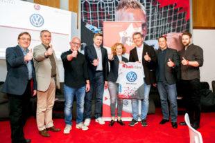 Von links: Prof. Dr. Volker Scheid (IfSS), Prof. Dr. Armin Kibele (IfSS), Thorsten Putz (Dino GmbH), Axel Geerken (MT Melsungen), Anke Doerr (Wingas GmbH), Heiko Hillwig (VW Werk Kassel), Thorben Weichgrebe (BKK Wirtschaft & Finanzen), Philip Julius (IfSS). Foto: Alibek Käsler