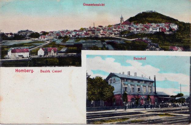 Stadt und Bahnhof auf einer Postkarte um 1900. Archivbild: Dr. Klaus Lambrecht, Homberg