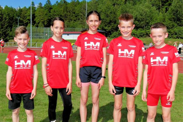 Die MT-Nachwuchsathleten Fabio Oglialoro, Kiara Schleider, Alessia Oglialoro, Linus Schopf und Jean Heilmann imponierten mit guten Leistungen. Foto: nh