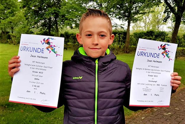 Erster im Dreikampf und Sieger über 800 Meter - Jean Heilmann beeindruckte beim Abendsportfest in Frankenberg. Foto: nh