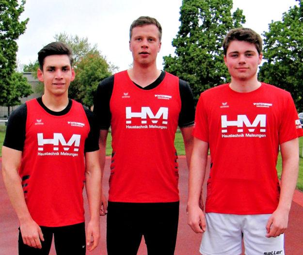 Marvin Knaust, Doppelsieger über 100 und 200 m der MU20, Michael Hiob (Sieger in der Männerklasse) und der verbesserte Tristan Krah. Foto: nh
