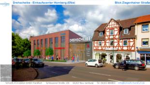Planung für das Einzelhandelszentrum »Drehscheibe«, Ziegenhainer Straße. Repro: Schoofs Immobilien GmbH