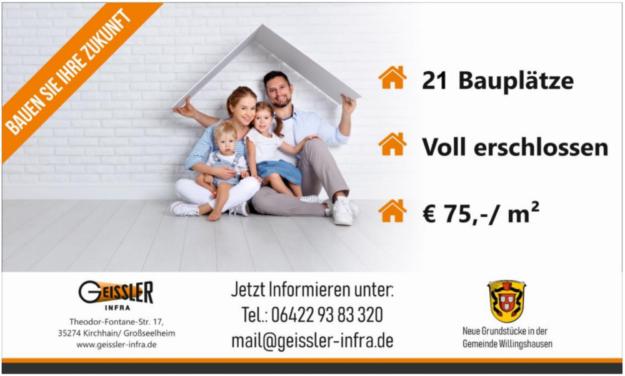 Mit großformatiger Werbung wirbt Willingshausen für den Verkauf neuer, voll erschlossener Grundstücke. Foto: Gemeinde Willingshausen