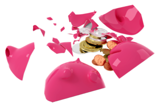 Viele Trümmer, wenig Erfolg. Hohen Sachschaden richteten die Sparschweindiebe an. Foto: nh