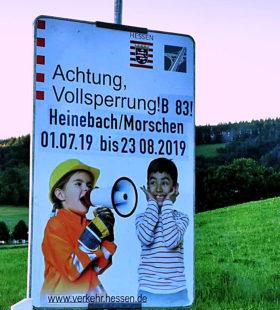 Im Juli und August wird die Bundesstraße B83 zwischen Alheim und Morschen voll gesperrt. Foto: nh