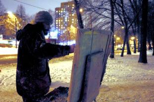 Antonin Passemard bei seiner Arbeit unter freiem Himmel. Foto: nh