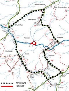 Umleitungsplan für die B454 in der Zeit vom 22. bis 28. Juli 2019. Repro: Hessen Mobil