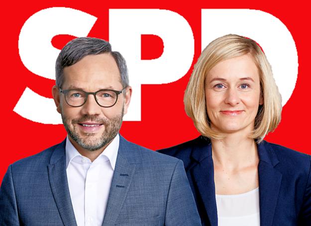 Michael Roth und Christina Kampmann kandidieren als Doppelspitze für den Vorsitz der SPD. Fotos: Susie Knoll, Catrin Moritz | Montage: gsk