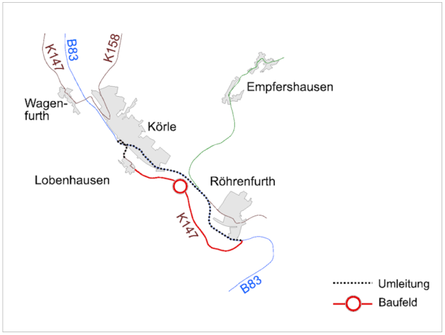 Für die Dauer der zweiphasigen Bauarbeiten wird der Kraftverkehr über die B83 umgeleitet. Mit Verkehrsbeeinträchtigungen ist vom 15. Juli bis 9. August zu rechnen.  Repro: Hessen Mobil