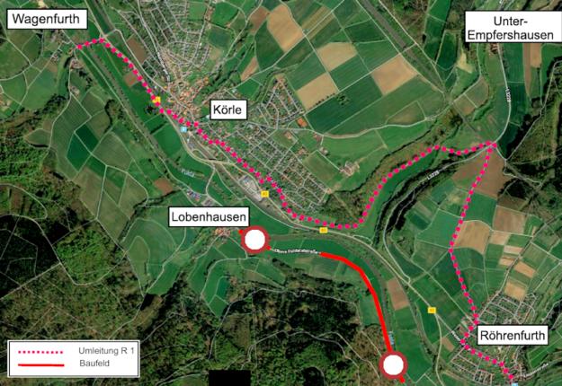 Die Umleitung für den Radverkehr holt etwas weiter aus. Skizze: Hessen Mobil