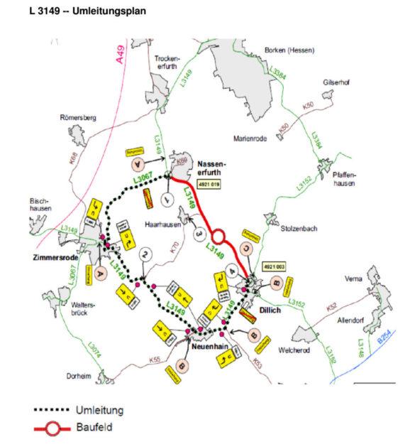 Während der umfangreichen Straßensanierung im Schutzgebiet gilt der Umleitungsplan von Hessen Mobil. Skizze: nh
