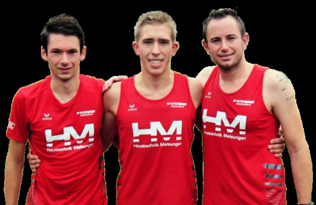 Einen dreifachen Erfolg gab es zum Auftakt im 3000m-Lauf der Männer mit Lorenz Funck (Mitte) als souveränen Sieger. Foto: nh