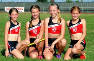 In der Siegerstaffel vom TSV 05 Remsfeld liefen (v.li.): Emilia Berk, Anne Eckhardt, Cheona Schwarlose und Antonia Wagner. Foto: Lothar Schattner
