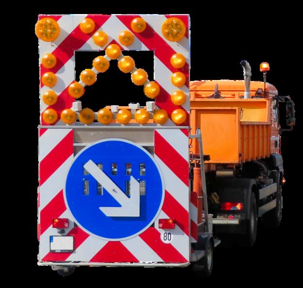 Baustellenfahrzeug mit Sperranhänger. Foto: Gerhard Gellinger | Pixabay