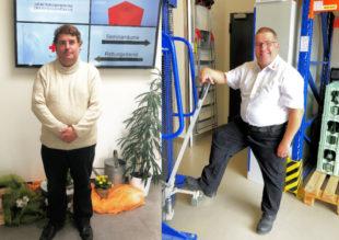 Auch optisch hat sich Einiges getan: Stefan Elsner vor seiner Einarbeitung (linkes Bild) und in DRK-Arbeitskleidung (rechts). Fotos: Jobcenter