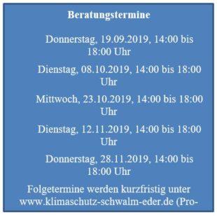 Termine für Energieberatungen im Schwalm-Eder-Kreis.