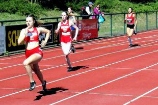 Vivian Groppe auf dem Weg zu ihrem 300m-Sieg in 40,43 Sekunden. Foto: nh
