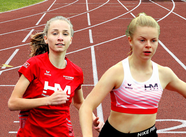 Die MT-Läuferinnen Maybritt Böttcher (li.) und Vivian Groppe vertreten Hessen im U16-Ländervergleichskampf in Gomaringen. Montage: SEK-News